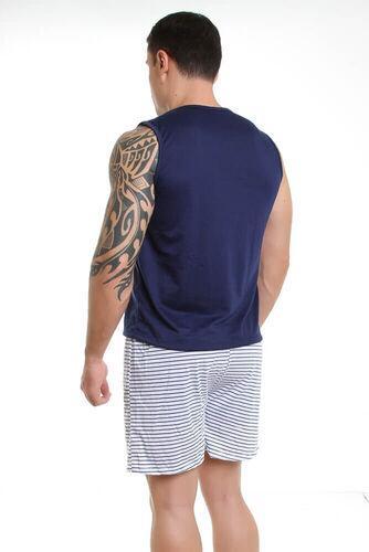 Pijama de Malha Curto Camiseta e Short - Listrado Adulto