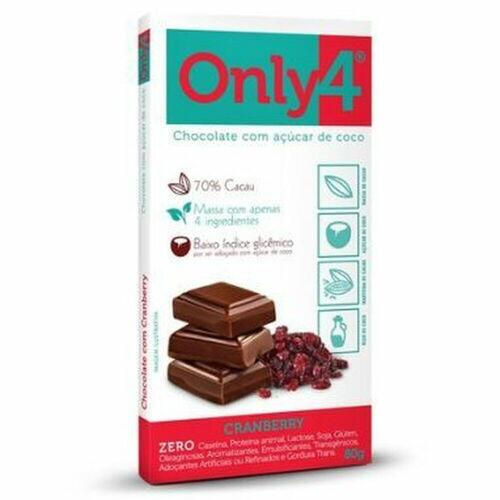 CHOCOLATE ONLYFOUR 70% CRANBERRY S/GLUTEN S/LACTOSE 80G