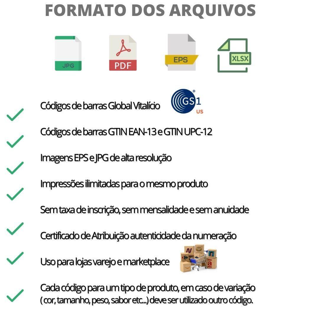 01 Códigos de Barras Ean-13 com cadastro de produto.
