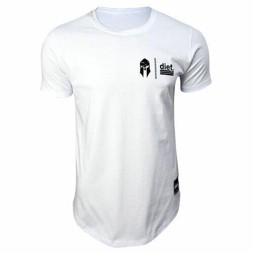 Camiseta Longline Masculina Gym Wars Diet Branca