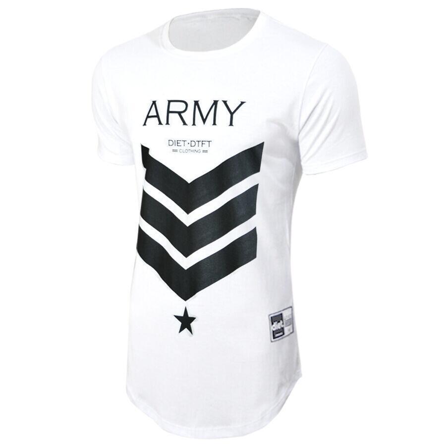 Camiseta Masculina Longline Army XXI Branca