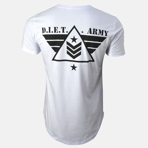 Camiseta Longline Masculina Army Back Branca