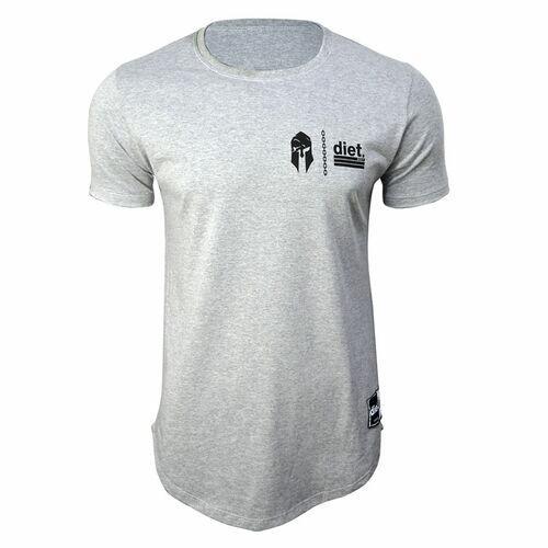 Camiseta Longline Masculina Gym Wars Diet Cinza Mescla