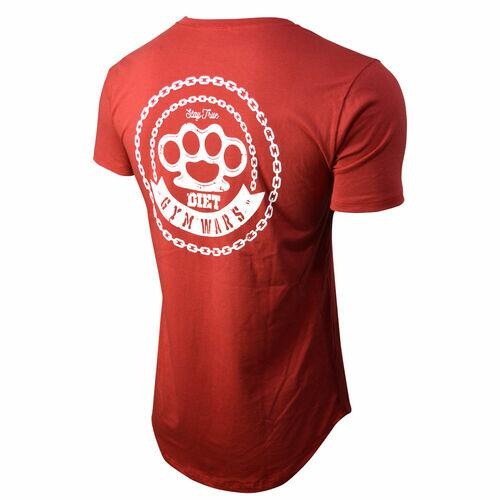 Camiseta Longline Masculina Gym Wars Diet Vermelha