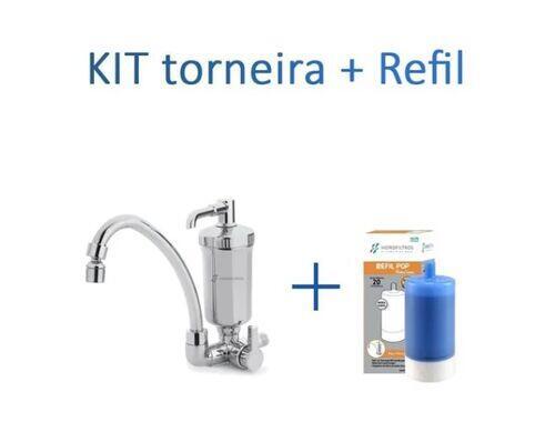 Kit Torneira Bica Móvel Com Filtro Cromado + Refil