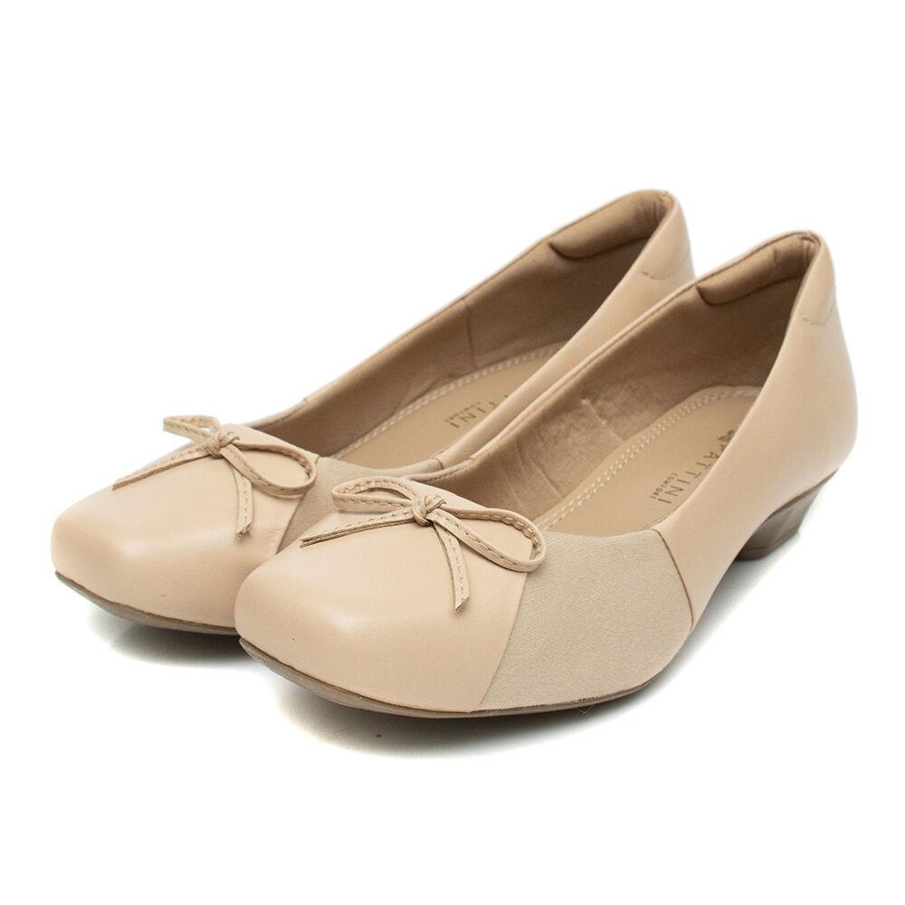 Sapato Pattini Comfort em Couro com Laço Nude