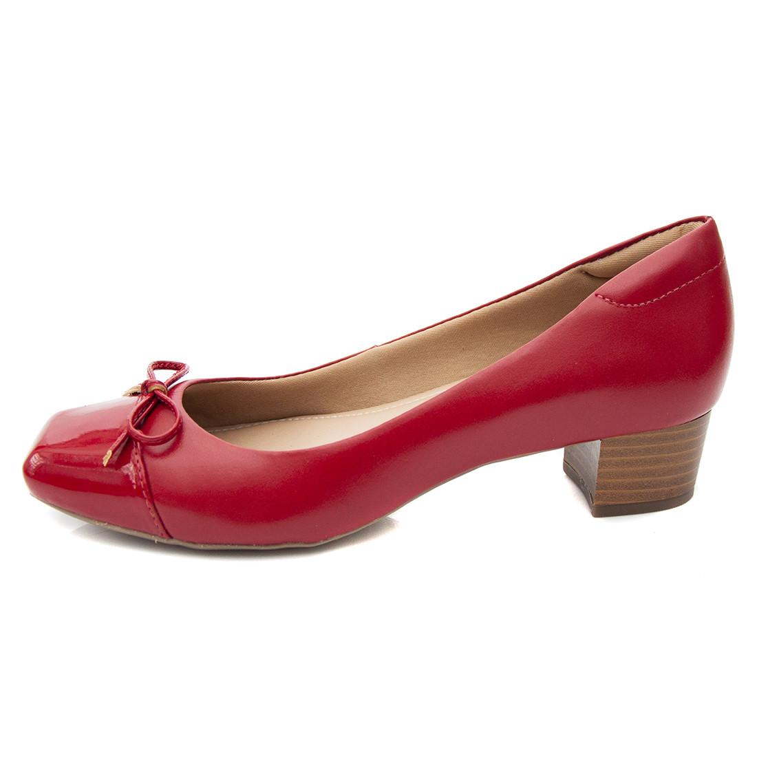 Sapato Pattini Comfort em Couro Laço Vermelho