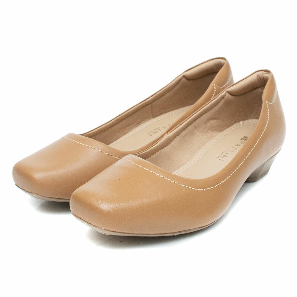 Sapato Pattini Comfort em Couro Costura Caramelo