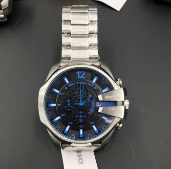 Relógio Diesel 10 BAR - Prata e Preto com Detalhes Azul