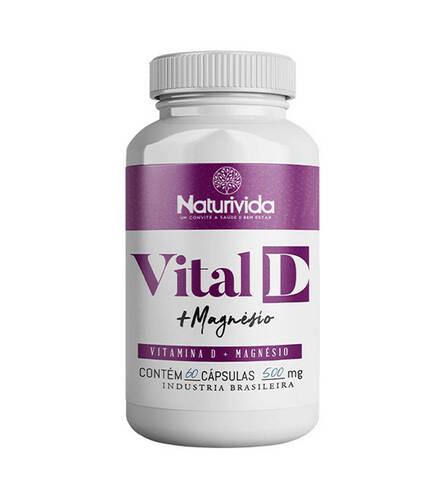 Vital D - Vitamina D + Magnésio | 60 cápsulas 500mg