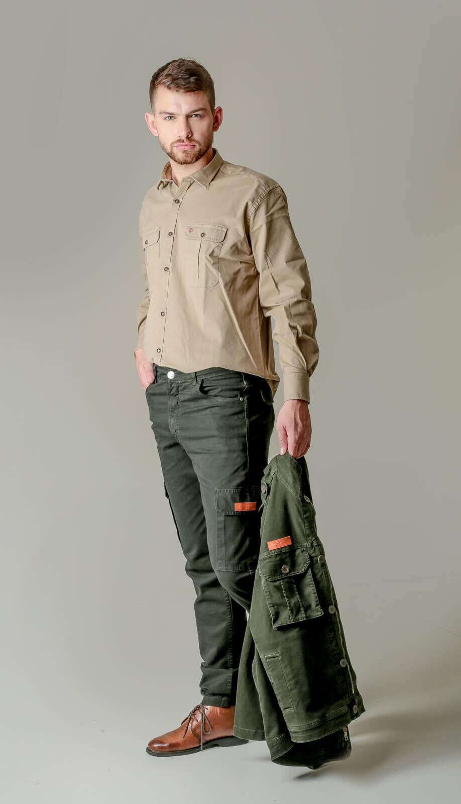 Calça Cargo Masculina com Elastano - Verde Musgo