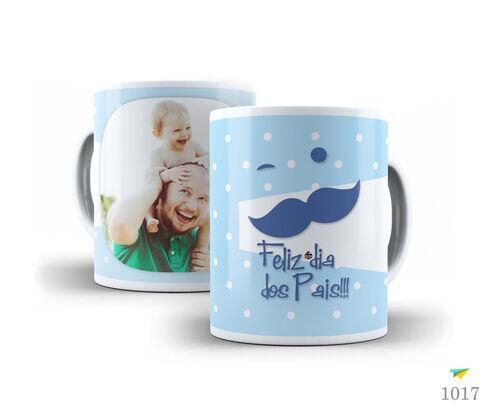 Caneca de Porcelana Branca Feliz dia dos Pais com foto Personalizada