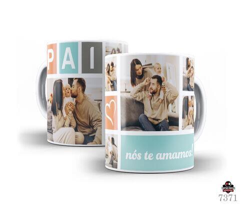 Caneca de Porcelana Branca pai nós te amamos! com fotos Personalizada