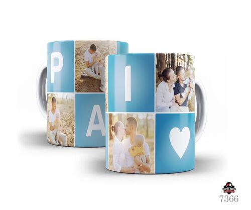 Caneca de Porcelana Branca pais com fotos Personalizada