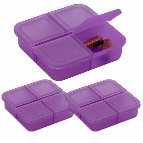 Kit 3x Porta Comprimidos com 4 Divisórias TopGet Violeta
