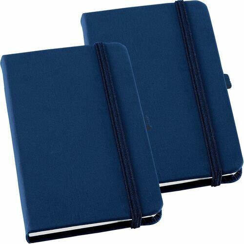 Kit 2x Caderneta de Anotações 14x21cm 80 Fls Sem Pauta Azul