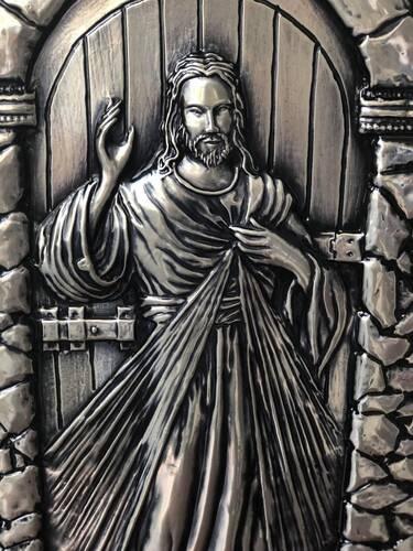 Quadro Jesus Misericordioso em Madeira com Metal