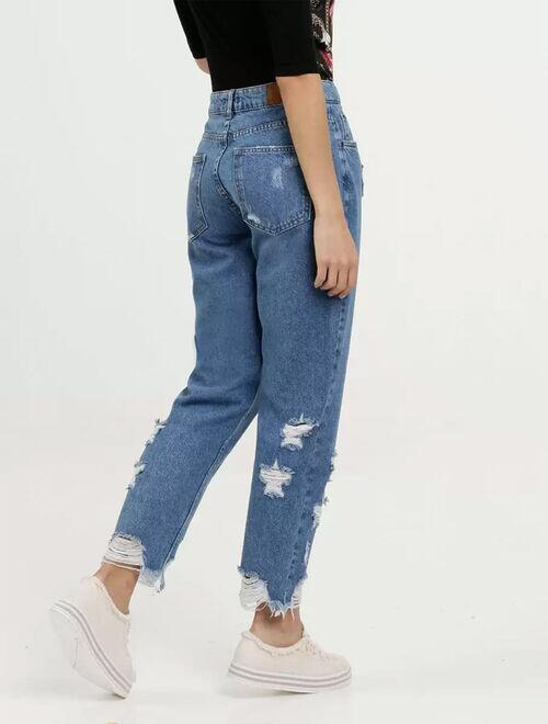 Calça Feminina Jeans Destroyed Boyfriend