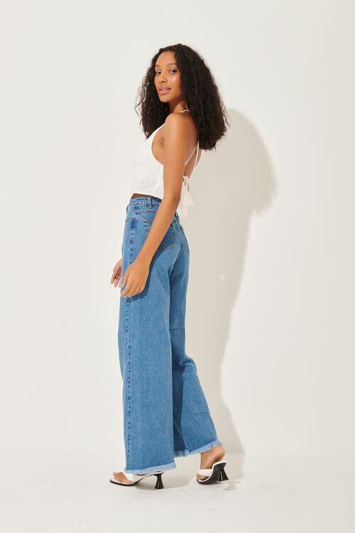 Calça Jeans Pantalona Desfiada Blue