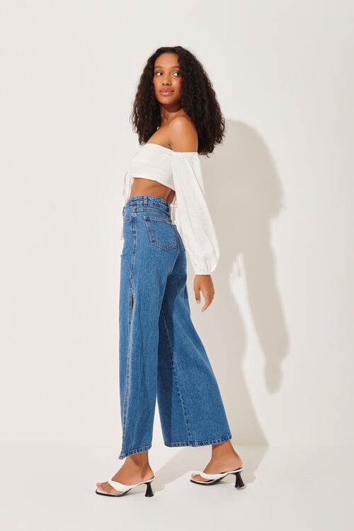 Calça Jeans Pantalona Fenda Lateral Blue