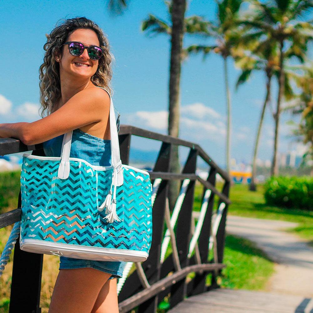 Bolsa de Praia Feminina Verão Com Necessaire Maré Fata