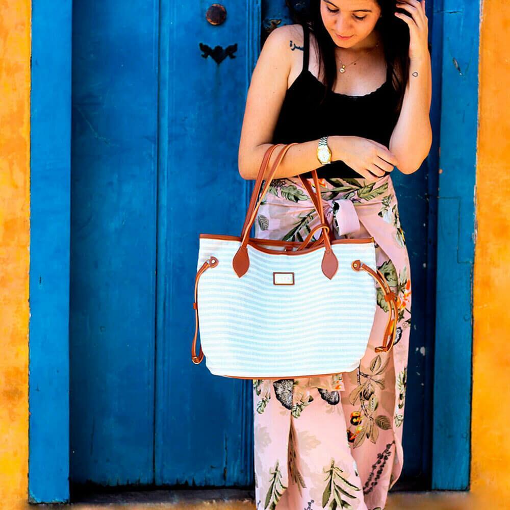 Bolsa de Praia Feminina Verão Buriti com Necessaire Fata