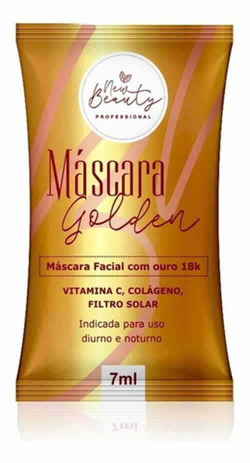 New Beauty Máscara Facial Ouro 18K Golden - Caixa 70 Sachês