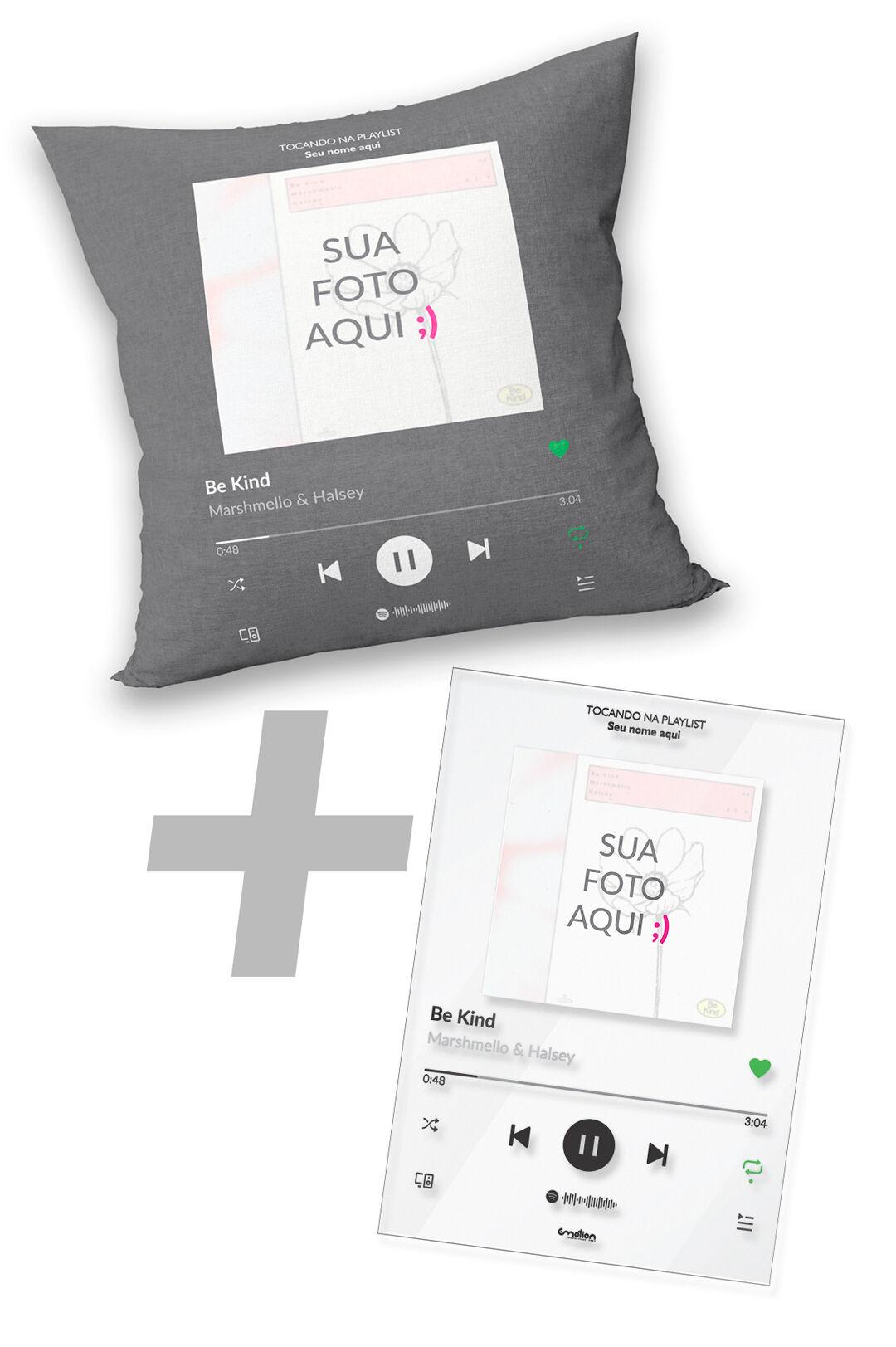 Almofada + Quadro Acrílico Spotify Personalizado com Foto e Música