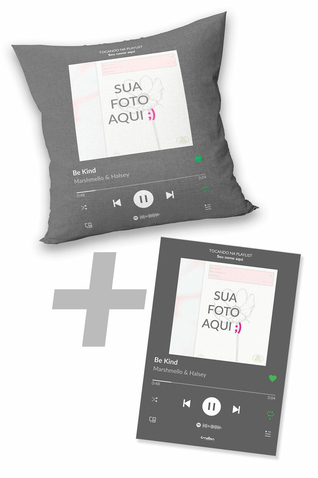 Almofada + Quadro PVC Spotify Personalizado com Foto e Música