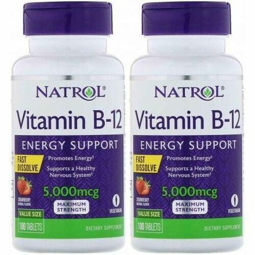 2x Vitamina B-12 5000 mcg Fast Dissolve - Natrol - total 200 Tablets
