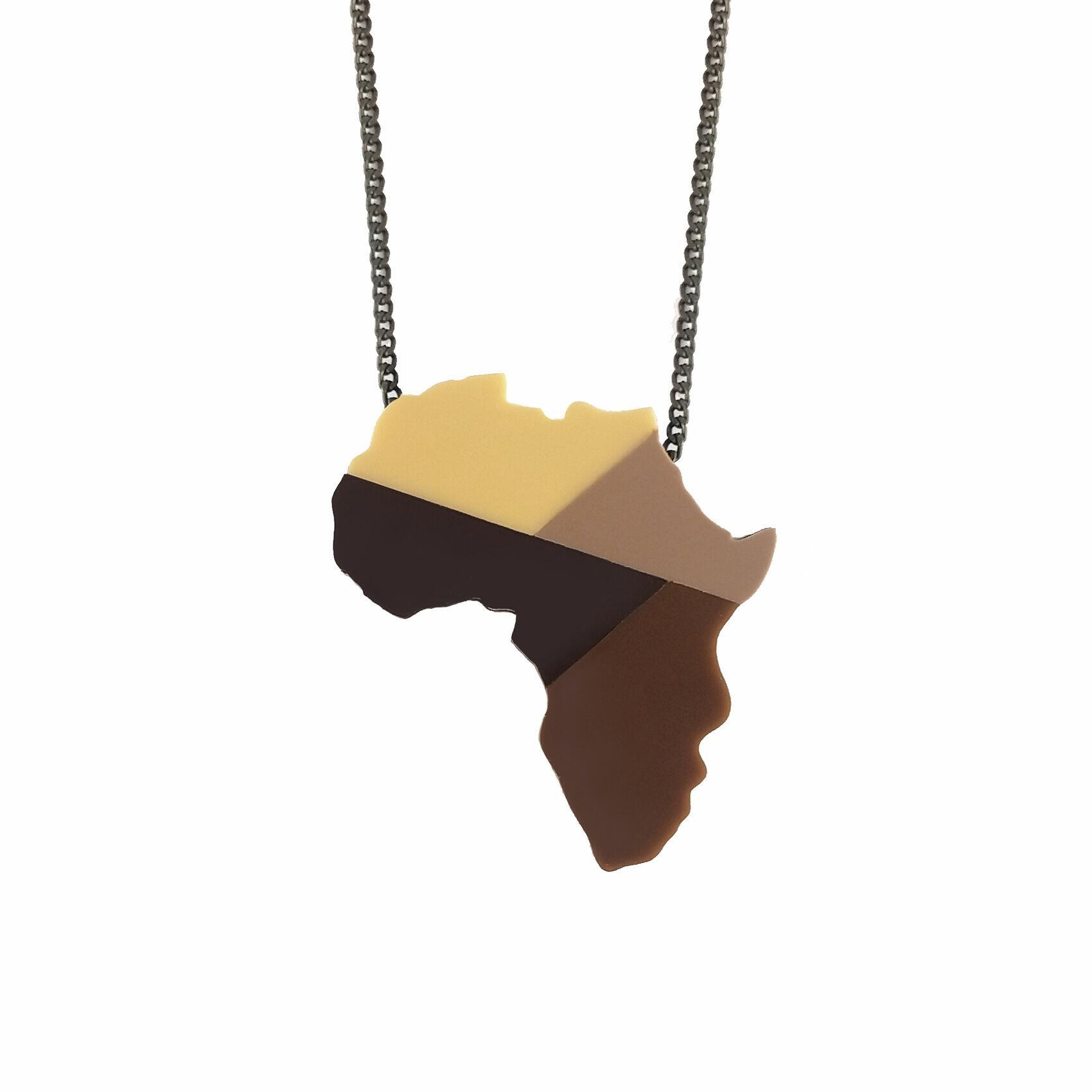 Colar De Continente Africano Ubuntu Africa Saúda Afro